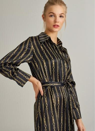 Monamoda Zincir Desenli Midi Elbise Altın